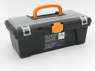 """12"""" Plastic Tool Box Handle Clear Lid Multi Storage Container Bit Compartments"""