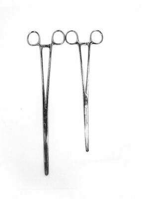 """2pc Set 10"""" + 12"""" Straight Hemostat Forceps Locking Clamps Stainless Steel"""