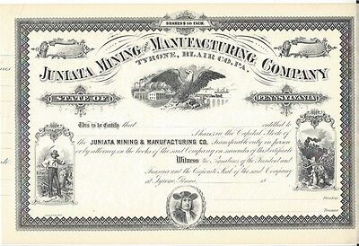 Juniata Mining And Manufacturing Company....unissued Stock Certificate