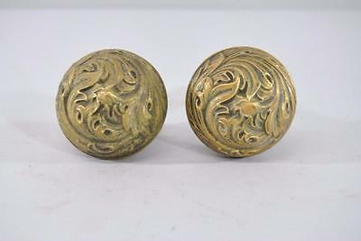 Antique Art Nouveau Brass Door Knob/ Handle Florence Pattern By Corbin