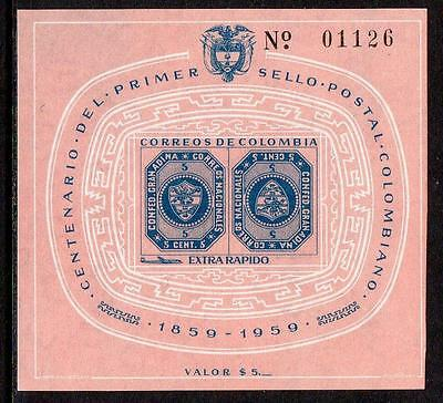 Colombia MNH 1959 Airmail - The 100th Anniversary of Colombian Stamps M/S