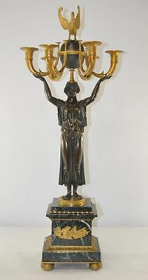 19th Century French Empire Figural Bronze and Marble Candelabra