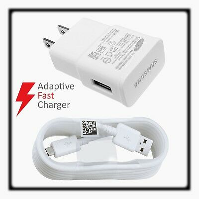 OEM Samsung Galaxy S6 S7 Note 4 5 Fast Charging USB Wall Charger + Cable