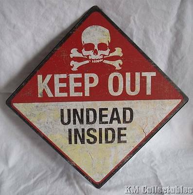 """Undead Inside"" Metal Sign.Zombie Walking Dead Skull & Crossbones Wall Plaque"