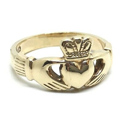 """Vintage"""" Made In Ireland Stamped"""" 9ct Gold Solid Claddagh Ring Signet Size P"""