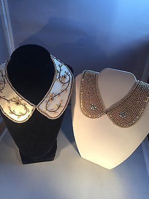 """Antique BEADED COLLARS Beige Pearl & Cylindrical Glass Beads Circ 14"""" JAPAN"""