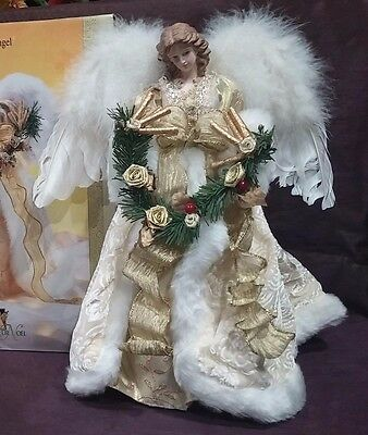 "Grandeur Noel Celestial Fabric Angel 16"" In Box"