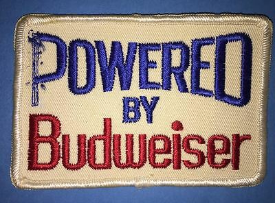 Rare 1970's Powered By Budweiser Beer Collectible Jacket Trucker Hat Patch B