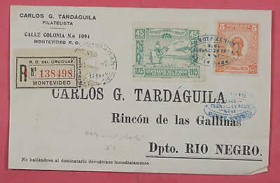 1925 Uruguay # 305 & C9 On Registered Cover Montevideo Cancel