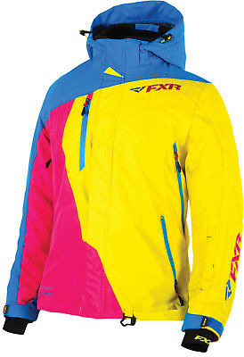 FXR Womens Blue/Yellow/Fuchsia Snowmobile Vertical Pro Jacket Snocross