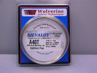 Wolverine Silvaloy A-40T 1/16 x 1TOZ 40% Silver Brazing Wire