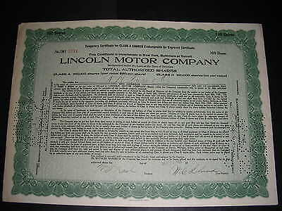 Lincoln Motor Company, 1921, unvignetted, signed by Leland