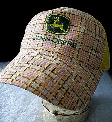 John Deere Strapback Trucker Hat Cap Adjustable Pink Yellow Plaid Unique Gift NM