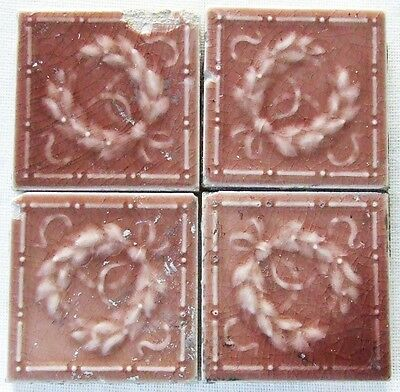 4 Antique Victorian AETCO American Encaustic Art Pottery Tiles Vintage Ceramic