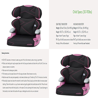 Evenflo AMP High Back Car Seat Booster Pink Angles NEW
