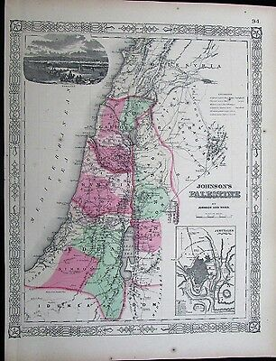 Palestine Israel Holy Land Jerusalem Damascus Judea c.1865 antique folio map