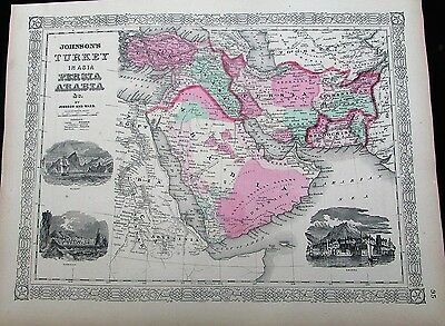 Arabia Ottoman Empire Turkey Persia Palestine Afghanistan 1865 antique folio map