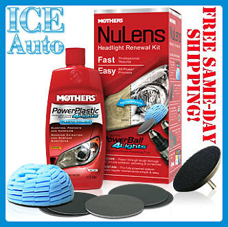 MOTHERS NuLens DIY Headlight Restoration Kit Powerball Polish Dull Cloudy Lights