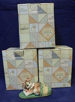 """Lot of 3 Enesco Calico Kittens """"Nothing's As Comfortable As Being With You"""""""