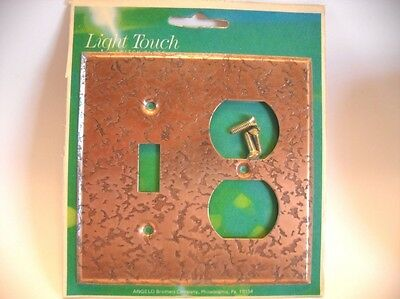 Vintage NOS Hammered COPPER Color Steel Switch / Outlet Combo Wall COVER PLATE