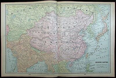 China Chinese Empire Mongolia Tibet Japan Korea French Indochina 1901 great map