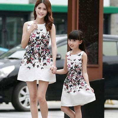 New Mother Daughter Matching Dresses Summer Women Dress Girl Clothes Outfit +