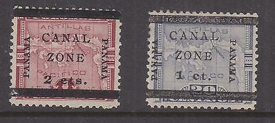 CANAL ZONE, 1906 on Panama, 1c. on 20c. & 2c. on 1p., lhm.