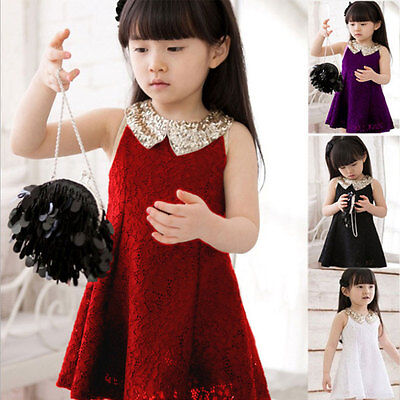 Girl Summer Princess Dress Kid Baby Party Wedding Lace A-Line Dress Tutu Dresses