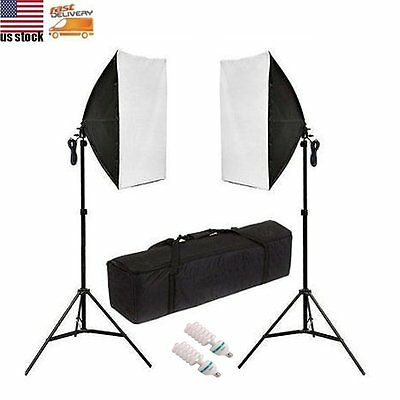 Photography Studio 2x135W Soft Box Continuous Lighting Softbox Stand Light Kit