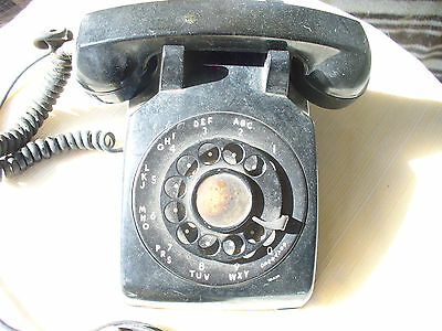 Vintage 1960s WESTERN ELECTRIC Black C/D 500 1-60 Rotary Dial Desktop Telephone