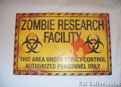 Large Zombie Research Facility Metal Sign. Free P&P. Walking Dead. Apocalypse