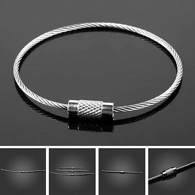 Outdoor Stainless Steel Wire Rope Screw Lock Key Chain EDC Cable Ring Loop