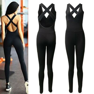 Women's Sports Gym Yoga Running Fitness Leggings Pants Jumpsuit Athletic Clothes