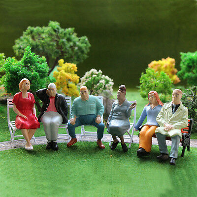 P2512 6pcs G scale Figures 1:22.5-1:25 All Seated  Painted People Model Railway
