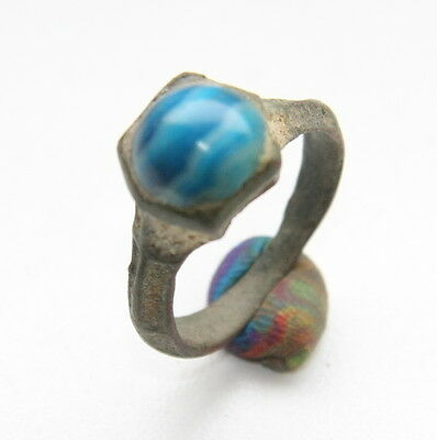 Ancient Medieval Bronze Finger Ring With Blue Agate Inlay (MAR)