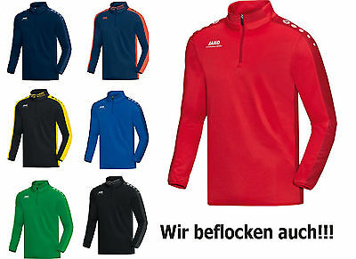 JAKO Striker Herren / Kinder Ziptop Zipper Sweat Sweatshirt mit Flock optional
