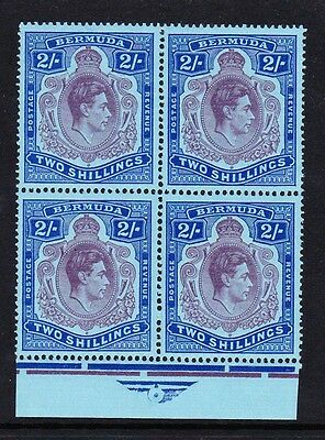 BERMUDA 1938-53 2/- PURPLE & DEEP BLUE IN BLOCK OF FOUR SG 116d MINT/ MNH.