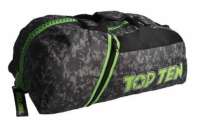 Top Ten Camo Sportbag / Backpack Grey & Green Large Boxing MMA Holdall