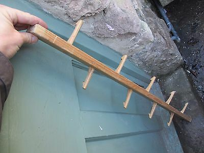 Vintage Wooden Coat Rack Hat Hangers Hooks French Reclaim Old Double Sided Farm