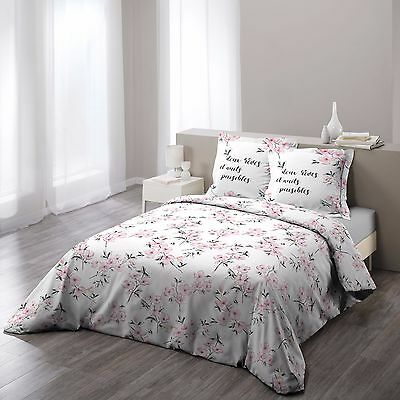 "Housse de couette + 2 taies 220x240cm ""ASHLEY ROSE"" 100% Coton 57 Fils"