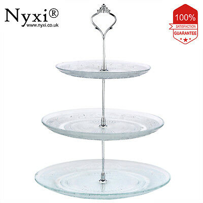 Nyxi 3 Tier Glass Cake Stand Afternoon Tea Wedding Plate Party Tableware Display