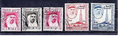 QATAR   1966  Mi 162, 163, 164, 169, 170  USED   VERY RARE!