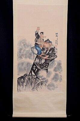 Very Long Old Chinese Scroll Hand Painting Figures Seal Mark PP515