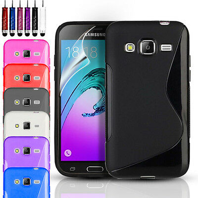 S-Line Gel Case Cover & Screen Protector For Samsung Galaxy J3 (6) 2016