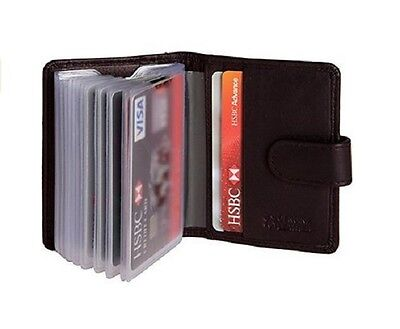 Mens Leather Wallet Genuine Small Credit Card Holder 21 Cards Black 98 x 76 mm