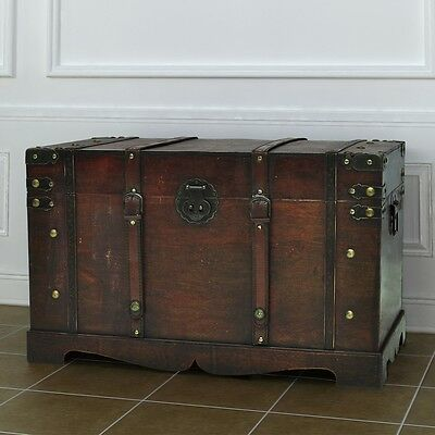 Chest Travel Trunk Antique Steamer Vintage Top Box Handle Flat