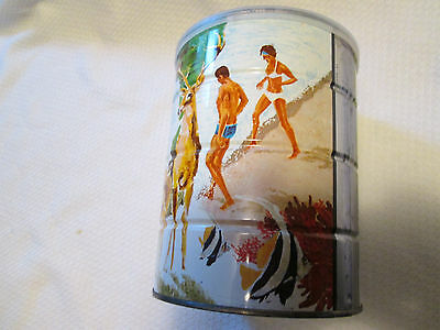 Folger's Coffee Collectible Tin  w Plastic Lid Deer Outdoor Scene Swimmers