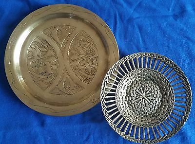 ANTIQUE VINTAGE PERSIAN MIDDLE EASTERN ISLAMIC BRASS ROUND PLATE  (2 Pieces)
