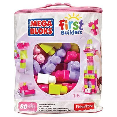 NEW Mega Bloks Building Toy First Big Builders Bag Pink 80 Blocks