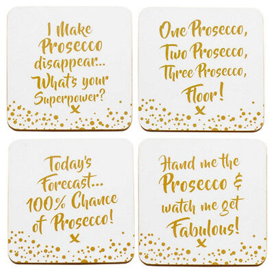 Set Of 4 Prosecco Coaster Coffee Table Place Mats Drinks Coasters Placemats New